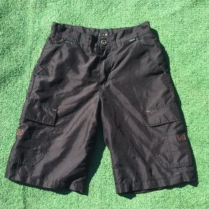 Hurley Solid Black Cargo Athletic Sports Shorts